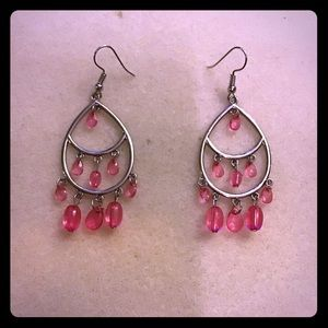 Paparazzi silver and pink earrings